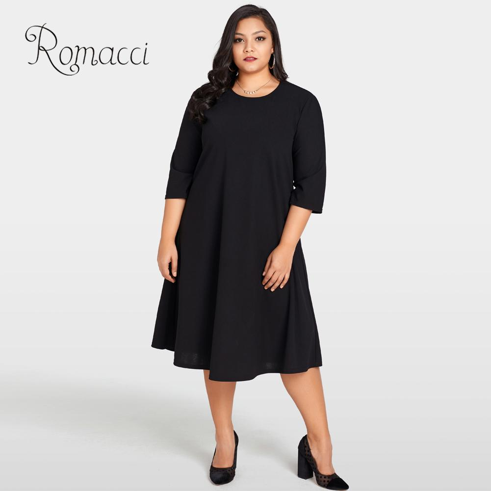 Romacci Elegant Women Plus Size Dress O Neck 3 4 Sleeve Back Sheer Lace  Splice Black Dress Solid Large Size Loose Female Dress-in Dresses from  Women s ... a5eed67452f9