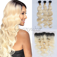 Guanyuhair Pre Plucked Ombre 1B/613 Blonde Body Wave Bundles With Lace Frontal 13X4 Ear to Ear Indian Remy Hair Weave Dark Root