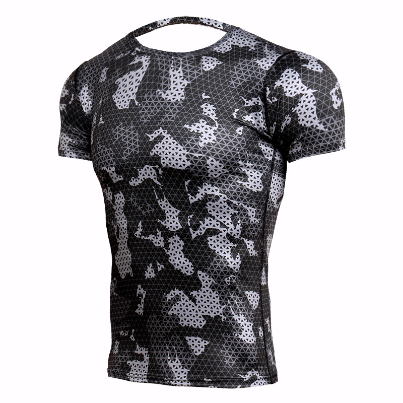 Rashgard Mens Sport Running T Shirt Men Camouflage Gym Fitness MMA Training Shirts Dry Fit Sportswear Top Soccer Jerseys