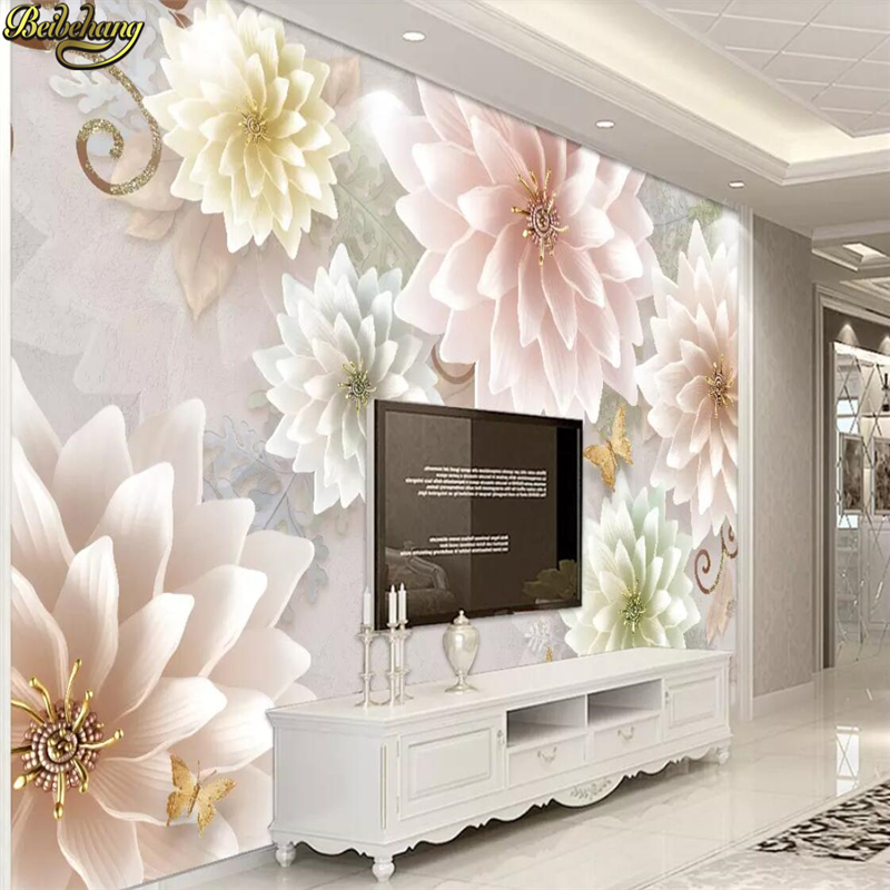 Us 8 85 41 Off Beibehang Custom Embossed Flowers Wallpaper For Living Room European Retro Jewelry Decoration Maison 3d Murals Wall Paper Prices In