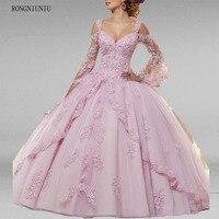 2019 элегантное Пышное Бальное платье розовые платья Quinceanera широкий длинный рукав аппликации из бисера платье принцесса для выпускного вечер