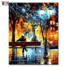 цена WEEN Lonely Figure Pictures Painting By Numbers DIY Digital Wall Oil Canvas Art Men and Park Coloring by numbers For Home Decor