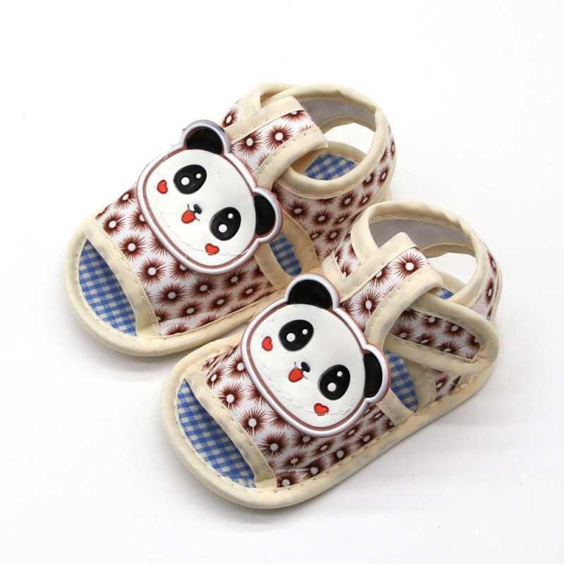 Для новорожденных, для маленьких девочек и мальчиков детские сандалии, обувь с милой пандой; летнее хлопковое платье из плотной ткани для девочек и мальчиков детские сандалии, обувь пляжные сандалии для малышей от 0 до 18 месяцев