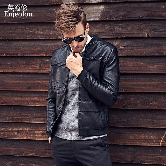 Enjeolon Новинка 2017 г. бренд PU Кожаные Мотоциклетные Куртки Для мужчин регулярные ткани модные Костюмы Повседневное черный Пальто и пуховики бесплатная доставка P304