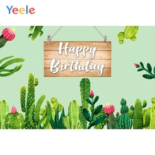 Yeele Tropical Blooming Cactus Green Board Birthday Photography Backgrounds Customized Photographic Backdrops for Photo Studio