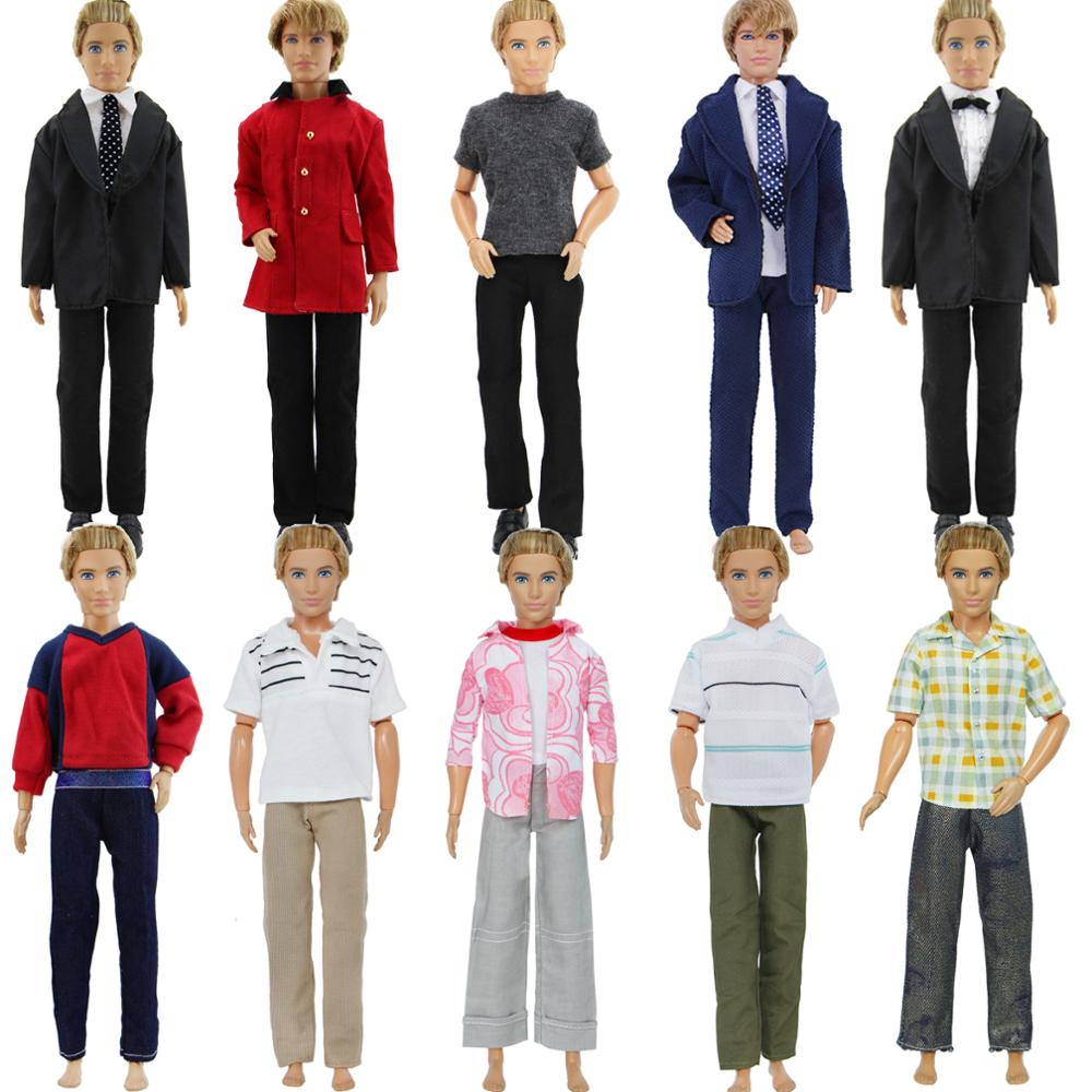 Lot Style 1 Set Daily Business Suit Outfits Pants + Shirt Coat Jacket Men Clothes For Barbie Ken Doll Accessories
