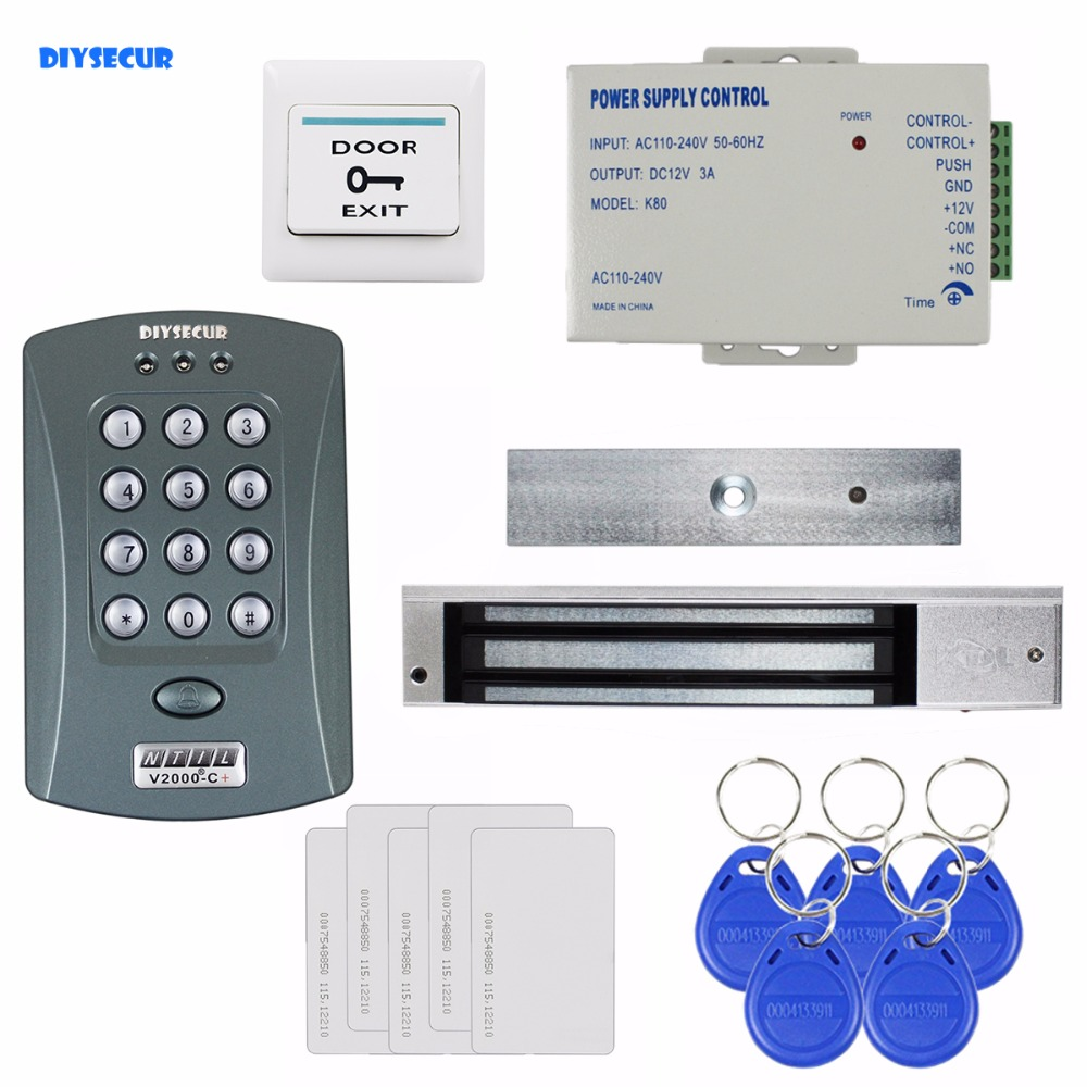 DIYSECUR 125KHz RFID Password Keypad Access Control System Security Kit + 280kg Magnetic Lock + Exit Switch V2000-C diysecur 280kg magnetic lock 125khz rfid password keypad access control system security kit exit button k2