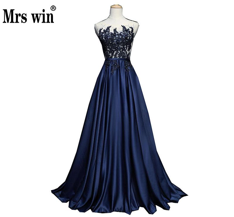 Vestido De Festa 2018 Mrs Win The O-neck Court Train A-line Illusion Evening Dresses Luxury Appliques Embroidery Party Gown F