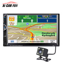 2Din Car MP5 Multimedia Video Player 7inch Touchscreen Auto Audio Stereo Radio With GPS Navigation FM