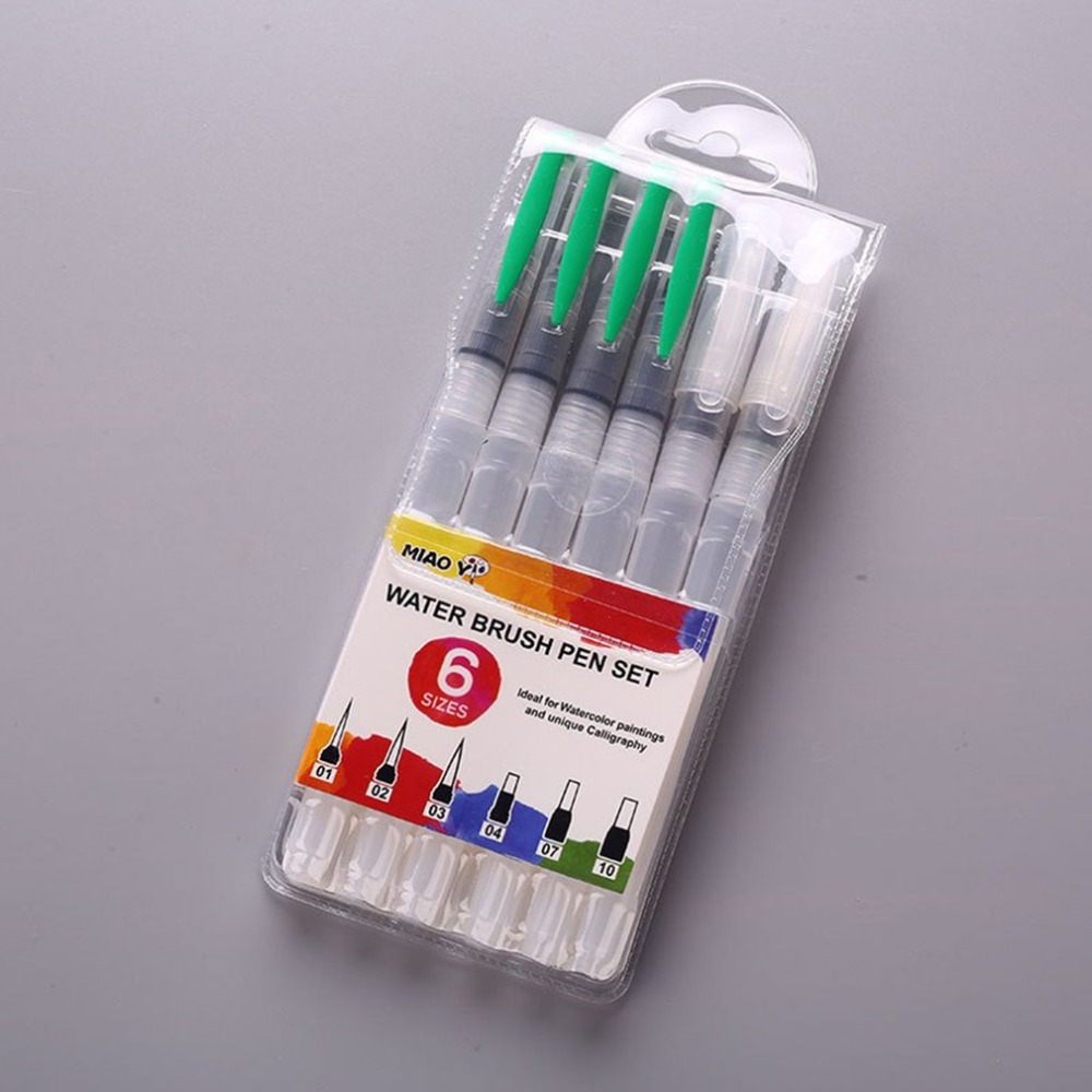 6 piezas los marcadores copic pluma de negocios de Nylon de almacenamiento de agua cepillo suave pluma Soluble en agua, suministros de arte marcadores de colores papelería