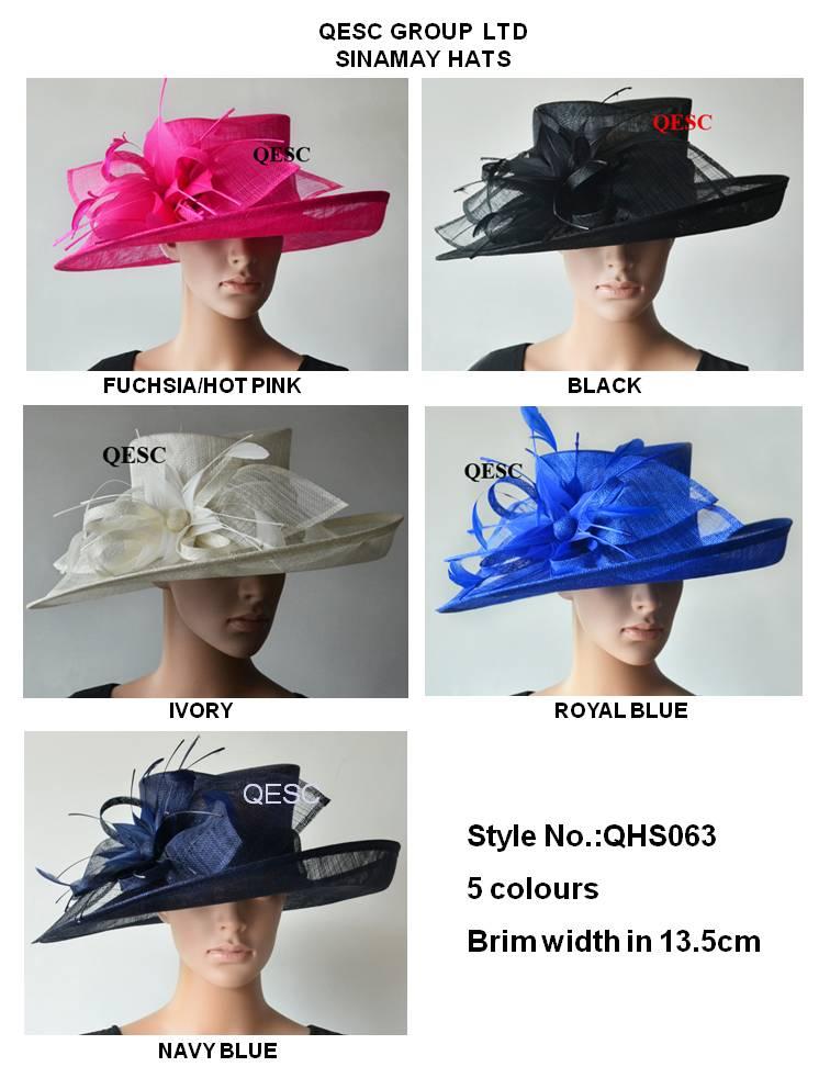 Wholesal Design wide brim dress Church Sinamay women s hat for wedding Kentucky Derby races royal