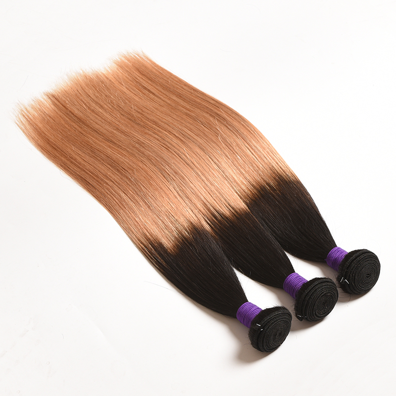 Lucky Queen Hair Products Brazilian Straight Hair 4 buntar # 1B / # 2 - Mänskligt hår (svart) - Foto 2