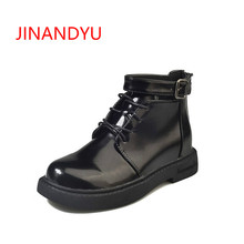 Sweet Female Ankle Boots for Women Patent Leather Boots 2018 Europe Fashion Buckle Chunky Heel Shoes Brand Platform Boots