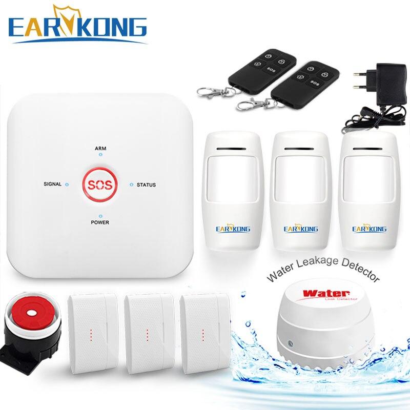 Wifi GSM Alarm System Home Burglar Alarm System 433MHz Wireless Sensor Alarms One Key Button Urgent SOS Help Android IOS APP quad band gsm one click alarm system with sos key phone