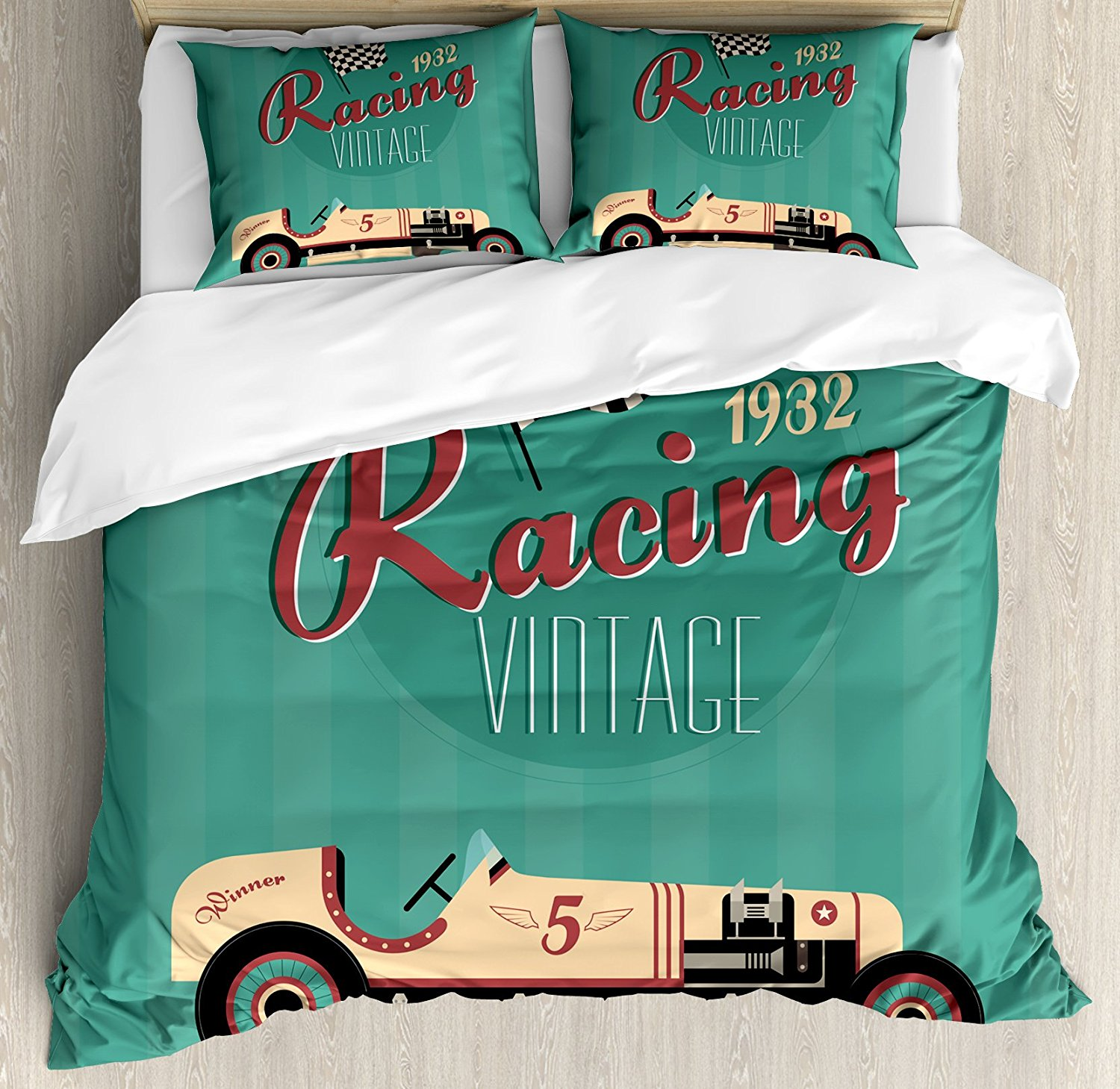 Cars Duvet Cover Set Poster Print of a Classic Vintage Automobile Nostalgia Rally Antique Machine 4 Piece Bedding Set