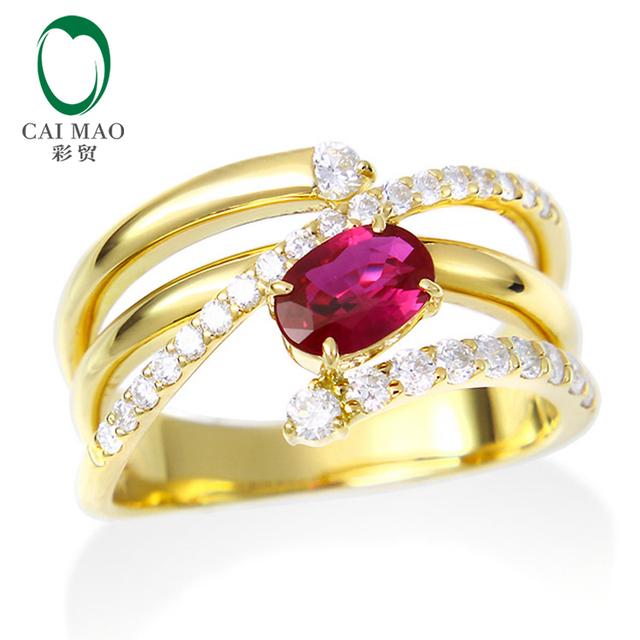 Caimao Jewelry 18K Yellow Gold 0.69ct Natural Ruby & 0.31ct Natural Diamond Engagement Ring