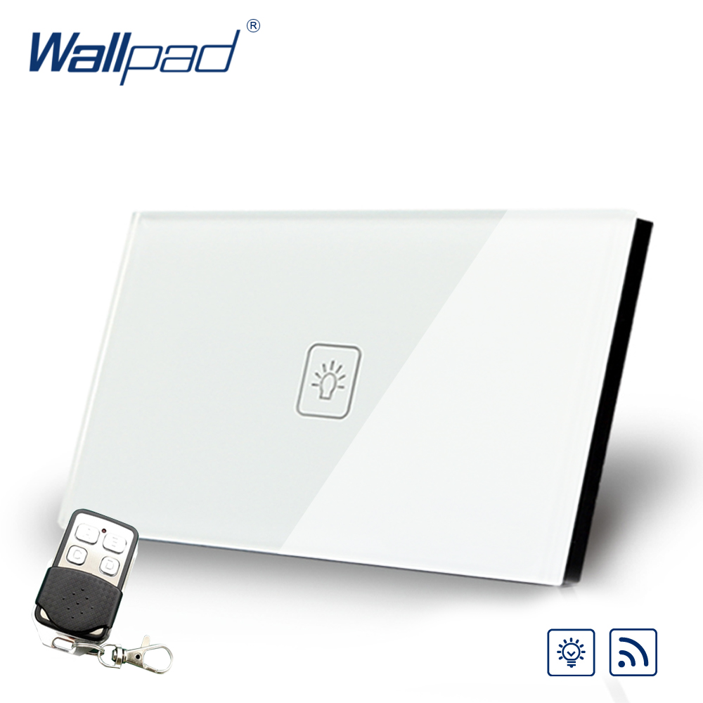 Wallpad US 1 Gang 2 Way 3 Way Intermediate Remote Control Touch Switch Crystal Glass Switch With Remote Controller gold 3 gang 2 way remote light switch wallpad us au crystal glass screen 3 gang intermediate remote switch led touch switch