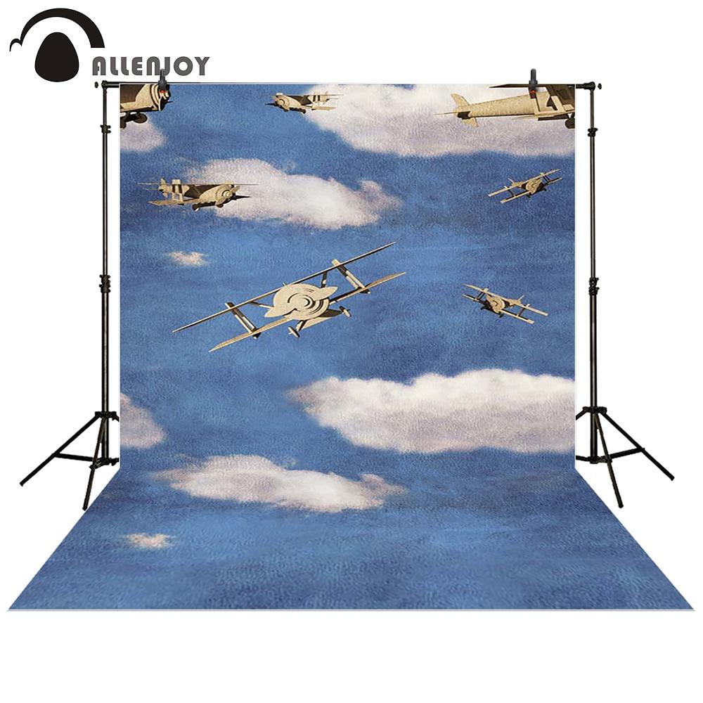 Allenjoy photography backdrop pilot Aircraft blue sky white clouds baby shower children background photo studio photocall blue sky чаша северный олень