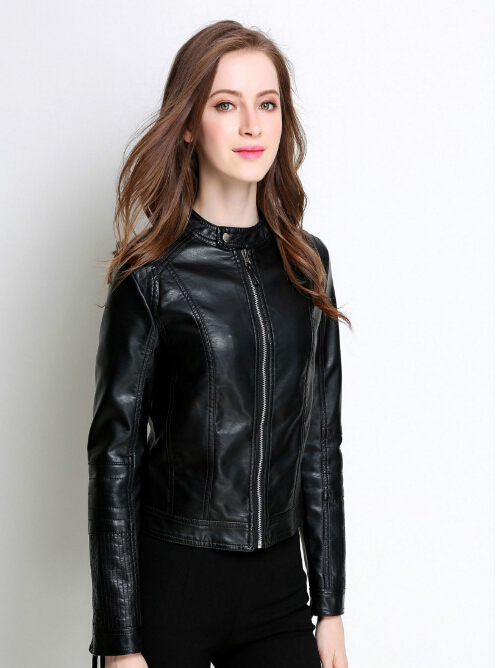 New   Leather   Women Short Section Spring and autumn Fashion PU Black Collar Collar Small Jacket Large   Leather   Jacket Motorcycle