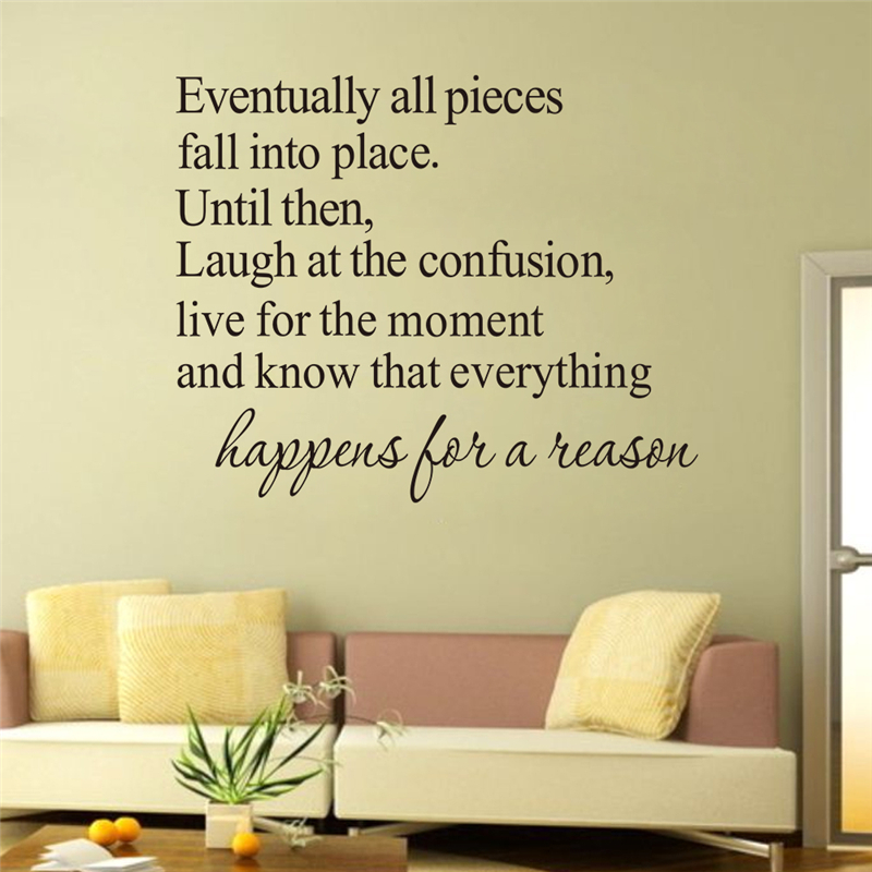 Hot Selling Happens For A Reason Quotes Wall Declas Living Room Bedroom Diy Home Decoration