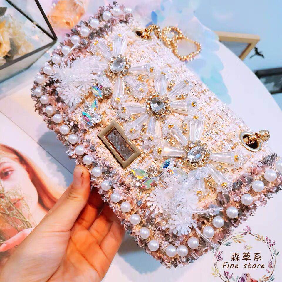 New customized sequins abrasive water drills Pearl tassels single shoulder diagonal women s small square bag