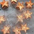 Резак металлические звезды струнные рождественские огни фея праздник свет весной девушка комната украшения Романтический сад с батарейным питанием