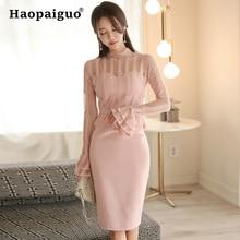 цены на Large Size Patchwork Lace Wrap Dress Women Flare Sleeve Bodycon Midi Dress Women Sheath Korean Dress Elegant Vintage Vestido  в интернет-магазинах