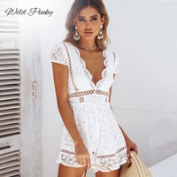 WildPinky 2019 Sexy Deep V neck Hollow Out White Lace Women Playsuit Embroidery Cotton Jumpsuit Elegant Party Rompers Overalls