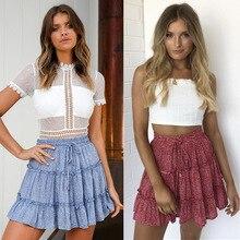 Короткая юбка с высокой талией и принтом в виде лотоса, юбка с цветочным принтом, женская пляжная одежда