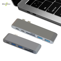 Tipo C HUB Thunderbolt 3 Doca USB 5 em 1 Adaptador Dongle USB-C Combo com 3.0 Portas USB TF Slot Para Cartão Micro SD Para MacBook Pro
