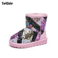 Yorkzaler Sequins Winter Children Snow Boots Waterproof Girl Boy Baby Girls Boys Boots Kids Geometry Winter