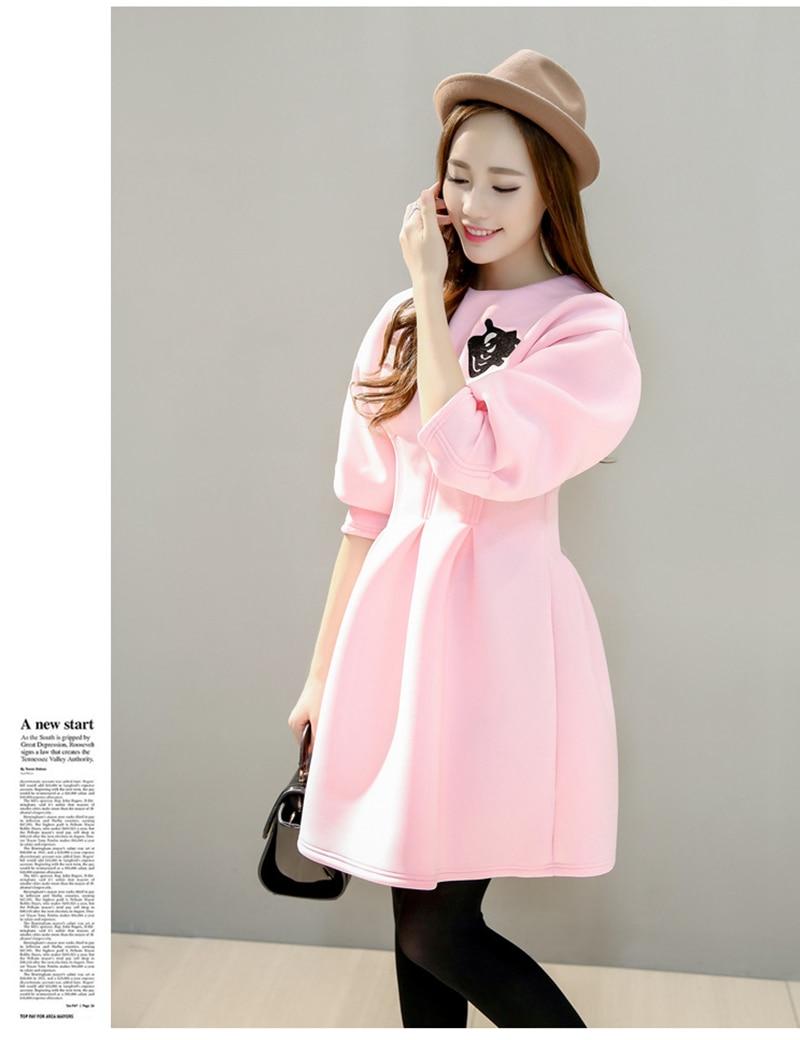 2016 Spring Autumn long Sleeve Dress women Korean party dresses female Ladies Slim Dress-in ...