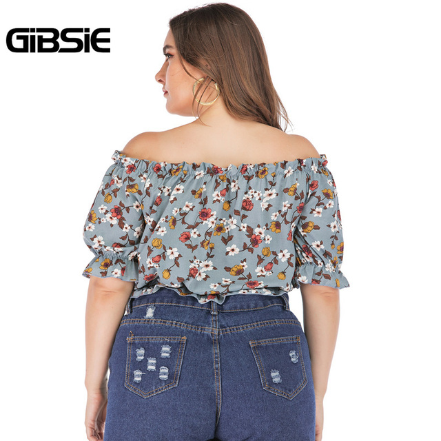 GIBSIE Plus Size Floral Print Boho Off Shoulder Ruched Crop Top Blouse 2019 Summer Holiday Casual Womens Tops and Blouses 2