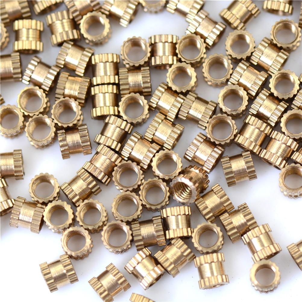 все цены на 200pcs New Brass Thread Insert Nut M3*4*4 MM Copper Inserts Injection Nut Embedded Parts Copper Knurl Nut Wholesale онлайн