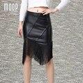 Cuero genuino negro faldas mujeres con flecos pencil skirt faldas jupe saia et7208 piel de cordero Irregular falda envío gratis LT225
