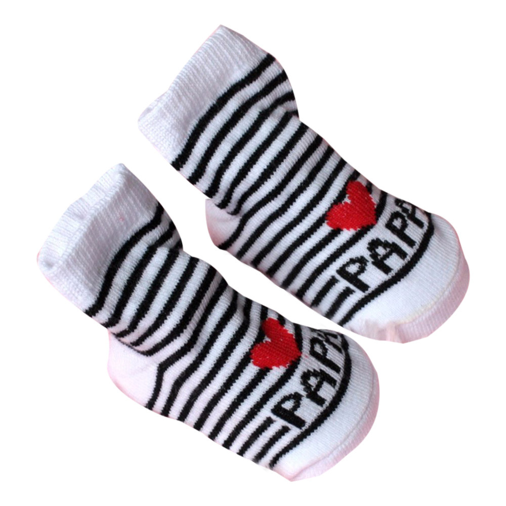 Новые хлопковые нескользящие носки-тапочки унисекс для маленьких мальчиков и девочек носки с надписью «люблю мама папа» для От 0 до 6 месяце...