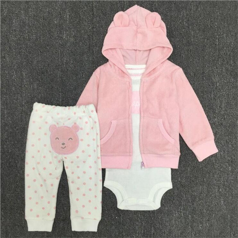 Hot sale high quality children clothing set kid cotton cardigan set Pink Coat romper pant 3 pcs clothing set for 0-24M baby 3 color red pink blue cherry cardigan coat