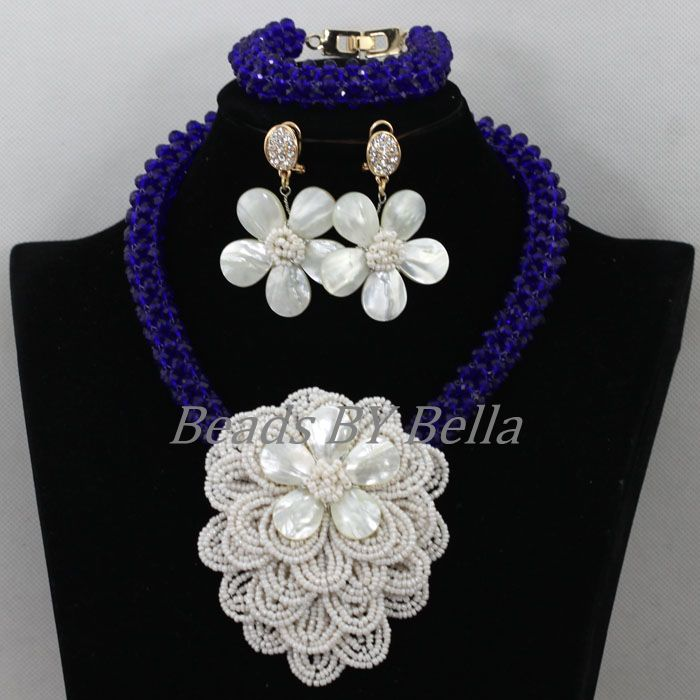 fad97472be Luxo Azul Royal Cristal Flor do Casamento Africano Pérolas Conjunto de  Jóias Nigeriano Colares de Contas De Jóias de Noiva Frete Grátis ABK057