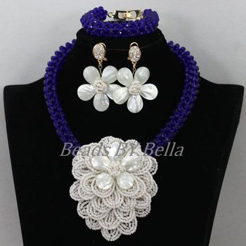 Luxury Royal Blue Crystal Flower African Wedding Beads Jewelry Set Nigerian Beaded Necklaces Bridal Jewelry Free Shipping ABK057