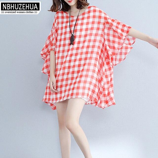 1658246ad45 4XL 5XL 6XL Plus Size Women Clothing 2017 Beach Bohemia Cute Red And White  Plaid Summer