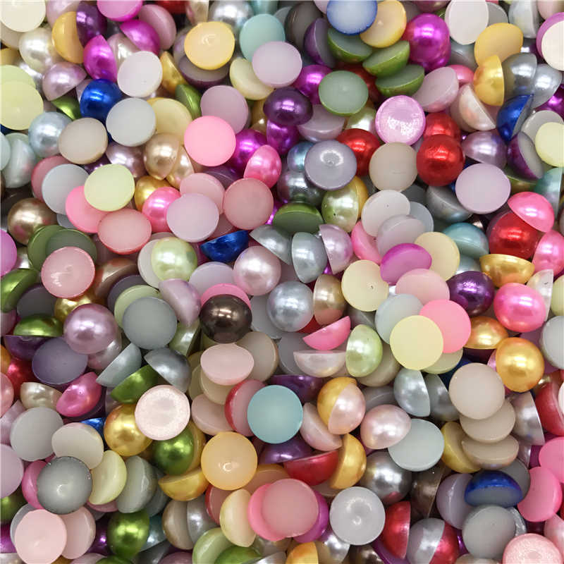 4-10mm Mix Color Half Round Pearl Bead Flat Back Scrapbook For Phone Case Scrapbook Women Nail Art Jewelry Making