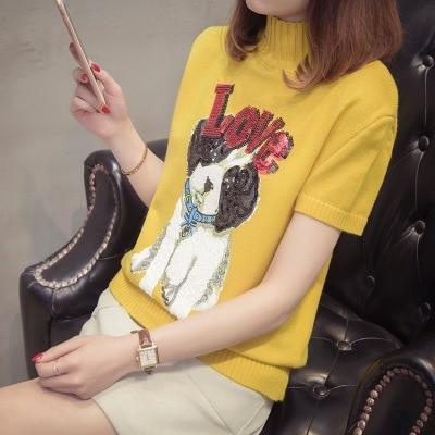 2018 short sleeve Spring new fashion womens sweater half - high collar short - sleeved love dog cartoon knitwear 1621 YYFS ...