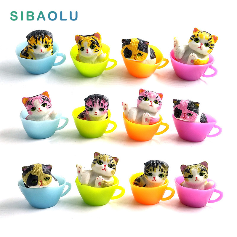 Mini Kawaii Cup Cat animals model miniature Figurine home garden decoration accessories Decor fairy craft Plastic Bonsai figure