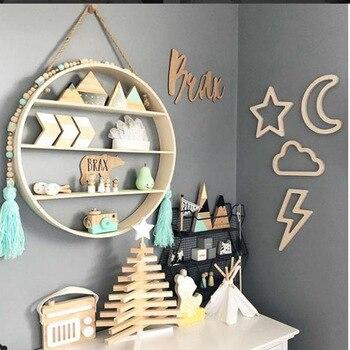Creativa Luna conejo de madera etiqueta de la pared de decoración DIY artesanía de madera decoración para niños cama de bebé Sala vivero diseño