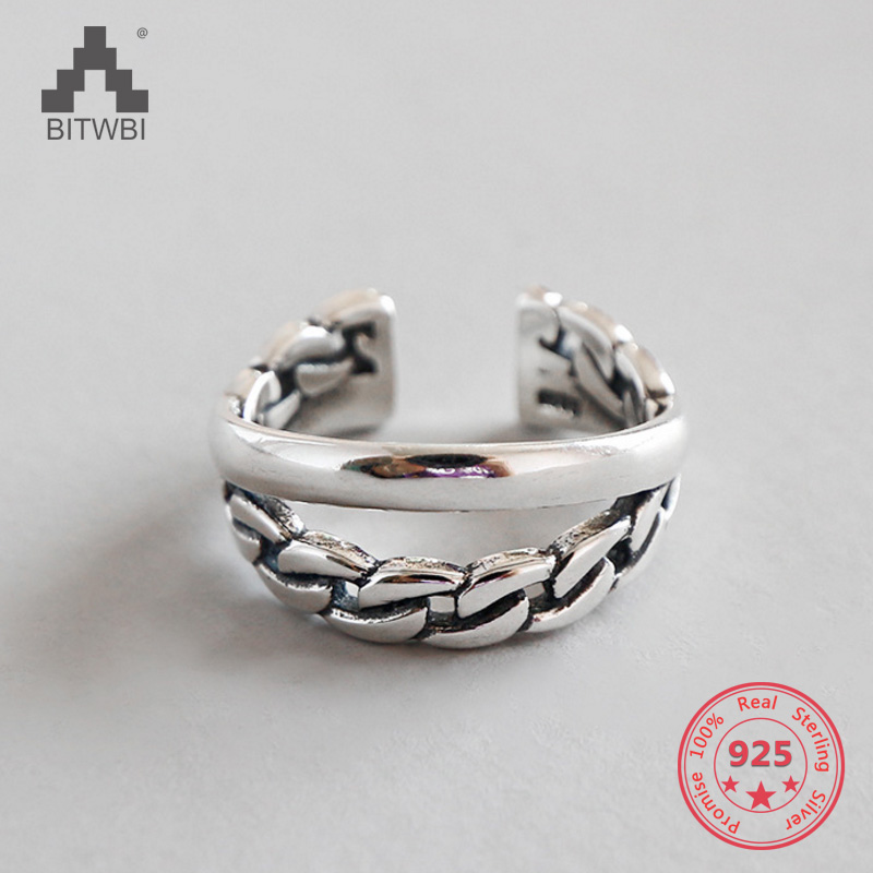 Real 925 Sterling Silver Rings For Women Simple Link Chain Shape Open Cuff Resizable Ring Retro Vintage Jewelry