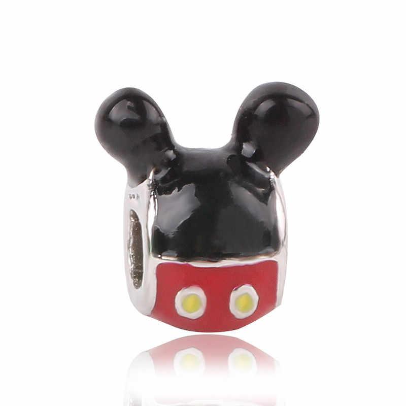 Bạc 925 Mickey Minnie An Toàn Dây Chuyền Kẹp Người Tuyết DIY Đính Hạt Phù Hợp Với Ban Đầu Pandora Charm Bạc Vòng Tay Thiền Trượng Trang Sức Nữ
