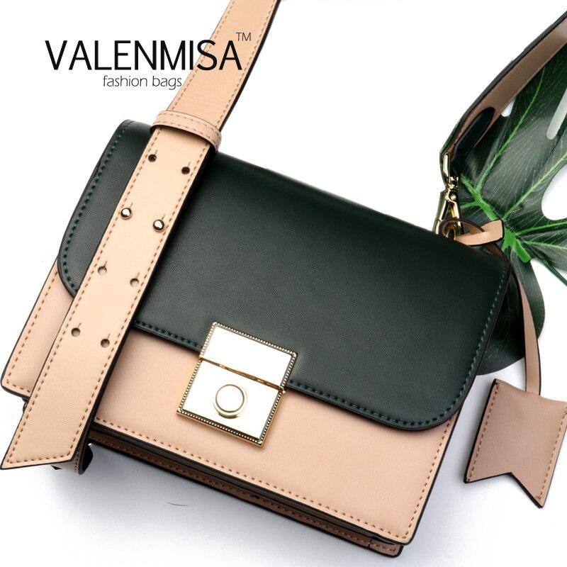 VALENMISA 2018 Genuine Leather Fashion Crossbody Bag High Quality Luxury Handbags Women Bags Designer Purses And Handbags