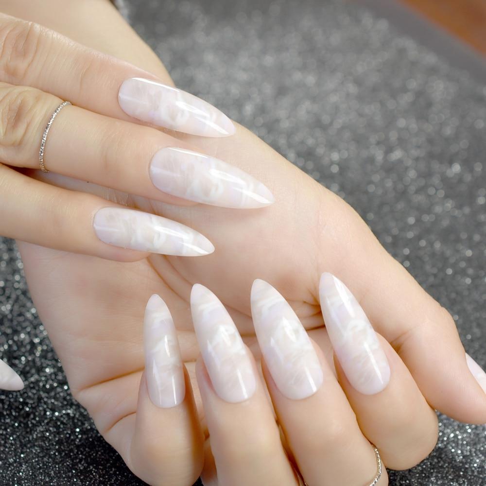 24pcs/kit Beige Stiletto Nails Extra Long Sharp Artificial Nail Art ...