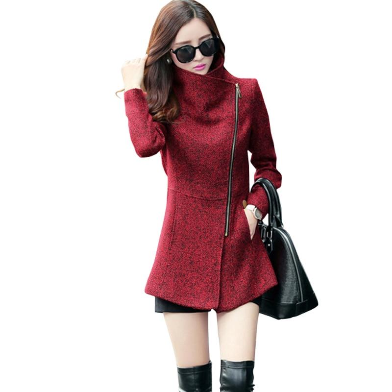 Új Európa 2019 Őszi Téli Női temperamentum Gyapjú dzsekik Kabátok Női alkalmi ruházat Divat Női Slim dzsekik Coats