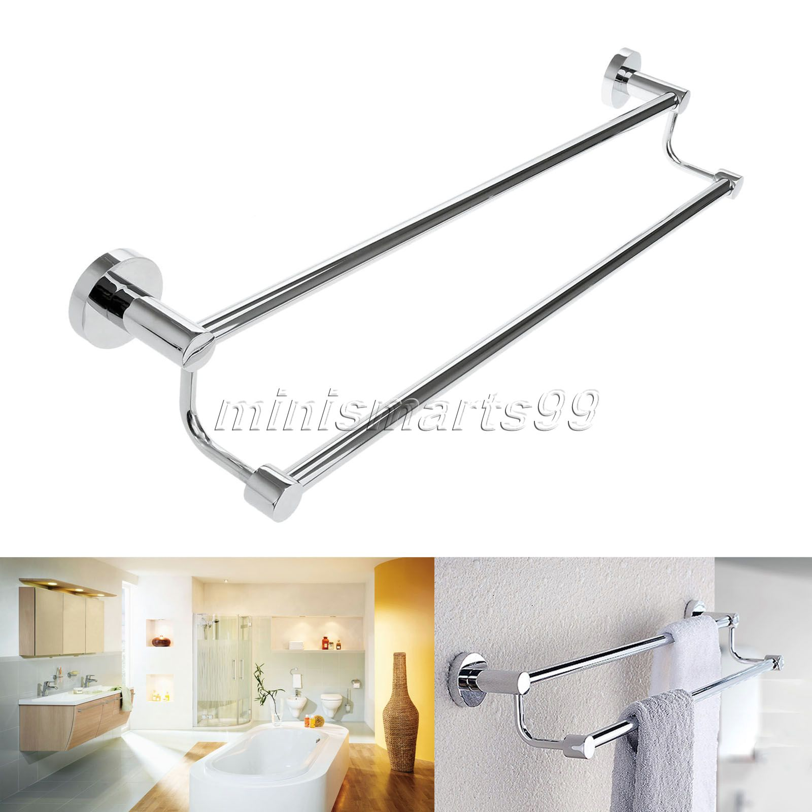 Stainless Steel Bathroom Shelve Towel Double Bar Wall Mounted Towel Shelf Bathroom Storage Rack